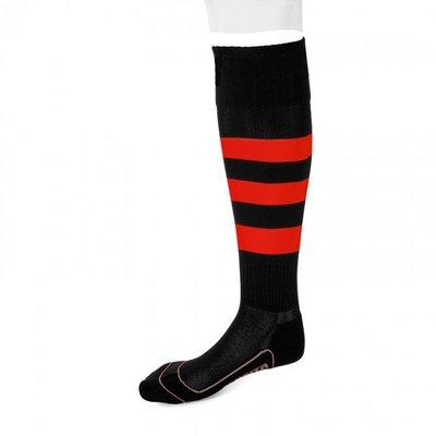 kousen geheel geringd barça zwart/rood
