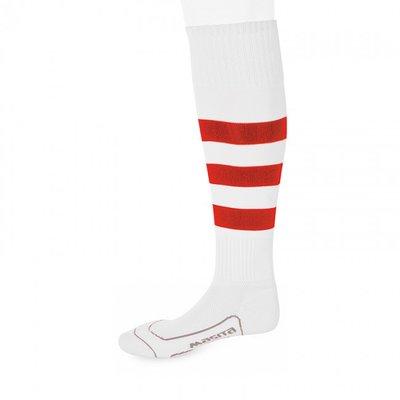 kousen geheel geringd barça wit/rood