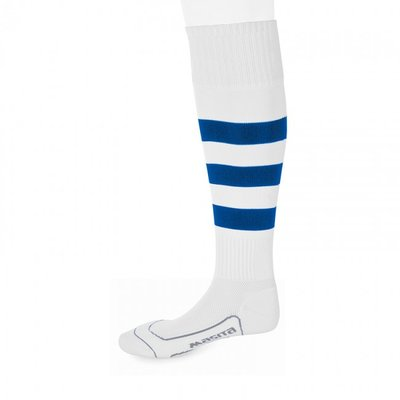 kousen geheel geringd barça wit/royal blauw